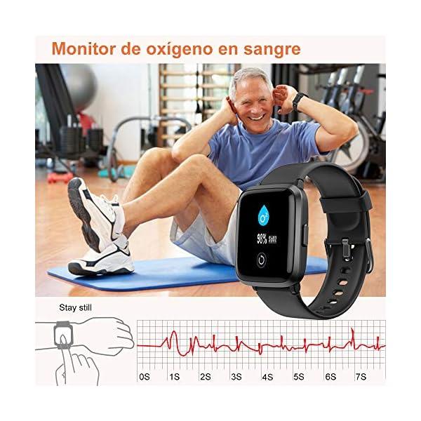 YAMAY Smartwatch con Oxímetro de Pulso Esfigmomanómetro y Pulsómetro Reloj Inteligente Impermeable para Hombre Mujer… 4
