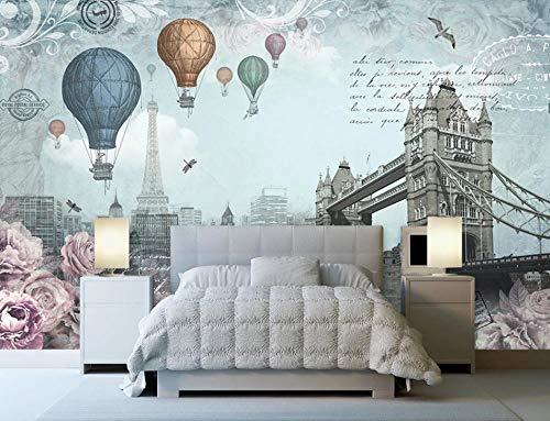 Papel Pintado Art Foto Mural Retro Inglés Globo Aerostático Papel Tapiz Fotográfico Personalizado 3D Murales Grandes Sofá Dormitorio Moderno Pintura Mural Decoración Para El Hogar - 200x140CM-XL