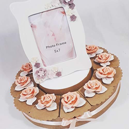 Torta Bomboniere solidali Fiore a Forma di Rosa in Porcellana (Torta da 48 fette + Centrale)