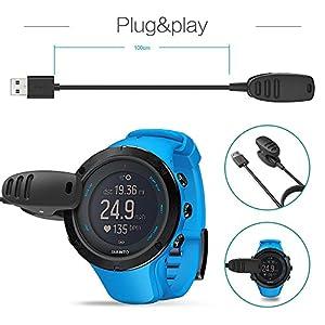 TUSITA Cargador para Suunto 3 Fitness, Suunto 5, Traverse, Kailash, Spartan Trainer, Ambit 1 2 3 - Cable de Carga USB Clip Cradle 100cm - Accesorios para Smartwatch