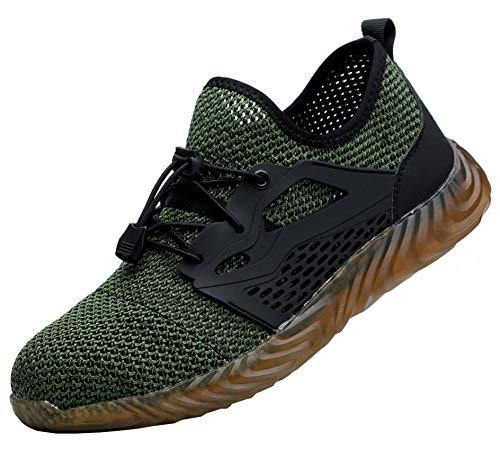 [SUADEX] 安全靴 夏 作業靴 通気性 スニーカー メンズ 鋼先芯 ケブラー繊維ミッドソール 耐油 ワーキングシューズ 耐滑 衝撃吸収 男女兼用 グリーン 43