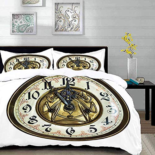 Ropa de Cama: Juego de Funda nórdica, Reloj, Tema Antiguo, un Reloj Vintage con una Cara en él, Elegante diseño, Multicolor, Funda nórdica de Microfibra con 2 Fundas de Almohada de 50 x 75 cm