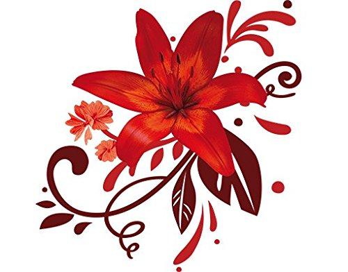 Apalis Wandtattoo No.BP7 Lilientraum red Lilie Ornament Blumen Wandmalerei