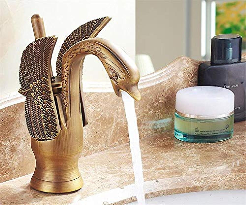DYR Wasserhahn Antik Messing Finish Little Swan Wasserhahn Badezimmer Waschbecken Wasserhahn