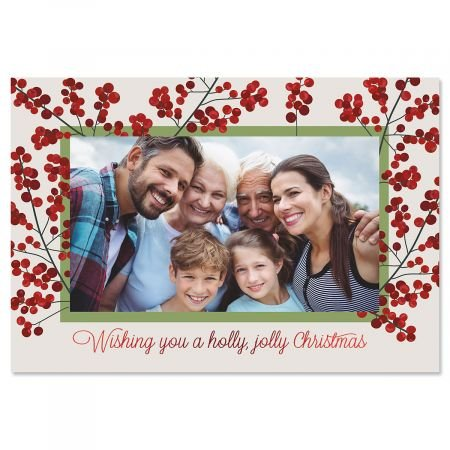 Deluxe Christmas Card Holly Jolly Photo Frames – Red Foil, Set of 18 Cards and Envelopes, Fits 4 x 6-inch Photos, by Current