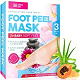 Exfoliating Foot Peel Mask - 3 Pack of Booties for Dead Skin, Calluses and Rough Heels - Feet Peeling Mask for Baby-Soft Feet with Aloe Vera - Effective Repair and Softness
