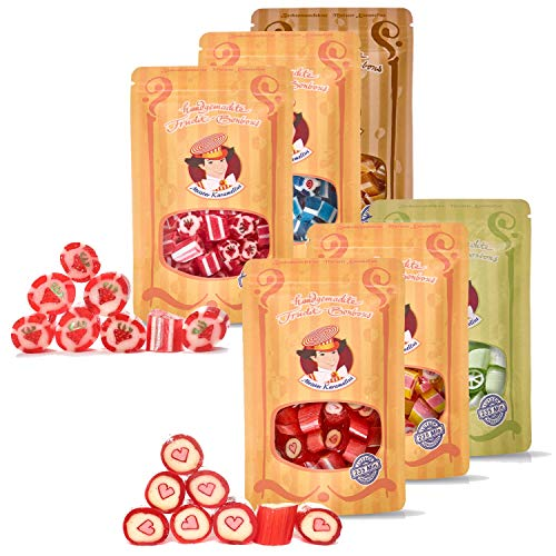 Original Meister Karamellus Bonbons -Himbeer-Vanille, Holunder-Zitrone, Limette-Rosmarin, Erdbeere, Blaubeere, Sahne-Karamell (6 x 80g Tüte)