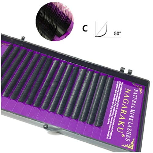16Rows Natural Makeup Lashes Noir False Eyelashes Eye Lashes Extension Tools, Curl:C, Thickness:0.10mm(12mm)