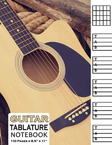 Guitar Tablature Notebook: Blank Musical Manuscript Paper with Chords Charts 110 Pages - Classic Guitar