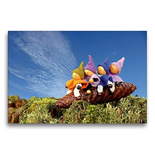 CALVENDO Premium Textil-Leinwand 75 x 50 cm Quer-Format Vier kleine Wichtel reiten auf einem Fichtenzapfen, Leinwanddruck von Christine Schmutzler-Schaub
