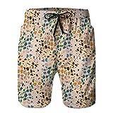 LJKHas232 Bañador para Hombre Shorts de Playa Camiones de natación de Secado rápido Camuflaje Estampado en Toda su Superficie Textura lúdica M