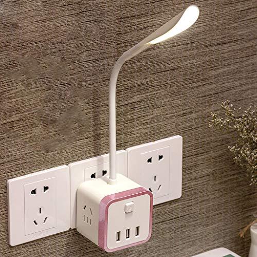 TXTC Contact nachtlampje, stopcontact, bureaulamp, bedlampje met USB-poort voor kinderen, studentenkamer, woonkamer