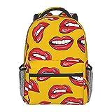 メンズとレディースのバックパックwomen Smiling And Biting Her Red Lips 42cmの に適した軽量のスクールカジュアルバックパックギフト