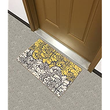 Kapaqua Rubber Backed Mat 18  x 31  Yellow & Ivory Floral Damask Doormat Accent Non-Slip Rug - Rana Collection Kitchen Dining Living Hallway Bathroom Pet Entry Rugs RAN2089-12