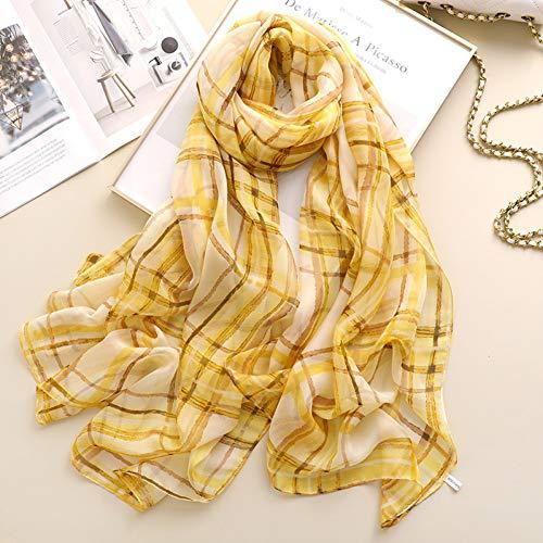 YSDSBM sjaal van zijde, Schotse ruiten voor dames, casual sjaal en verpakkingen voor dames, reizen, zonwering, groot, dun, Hijab