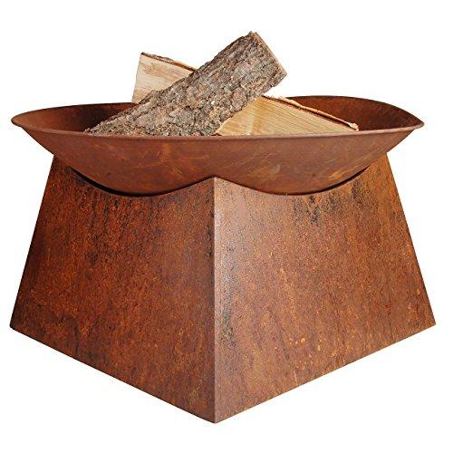 Jet-line Feuerstelle Pueblo Feuerschale Rost Firebowl Rostbraun, Ø 57 cm x 33 cm hoch Feuerkorb Feuer Grillstelle Garten Gartenausstattung Rostoptik