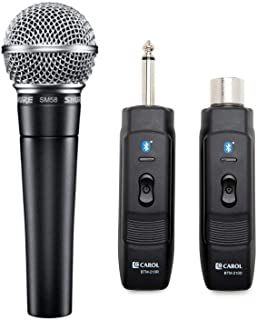 Shure SM58-LC Cardioid Dynamic Vocal Microphone with Knox Gear Microphone Wireless Adapter