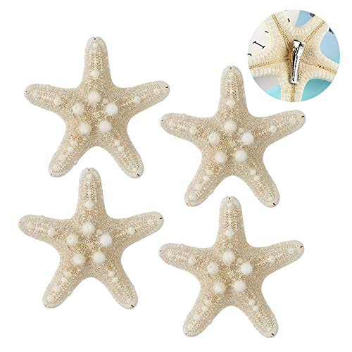 4PCS Starfish Hair Clip, Natural Starfish Sea Star Hair Pins, Beach Hairpin Hair Barrettes Accessories for Women and Girls