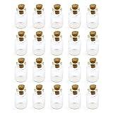 Grenhaven - Set de 20 Mini Botellas de Cristal 1,5ml pequeñas para decoración, Almacenamiento y Manualidades, con Tapón de Corcho, Botellita de Vidrio, Decoraciones de Boda