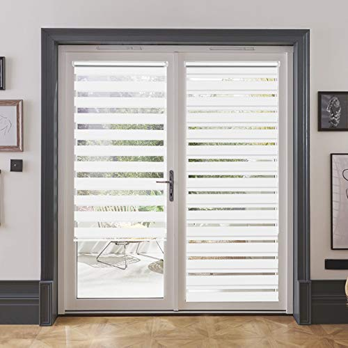LUCKUP Horizontal Window Shade Blind Zebra Dual Roller Blinds Day and Night Blinds Curtains,Easy to Install 41.3