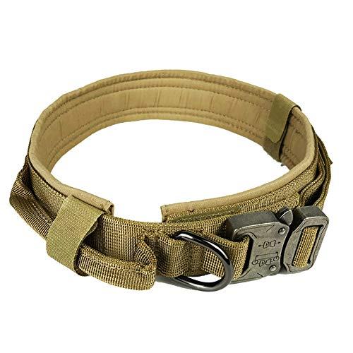 Athemeet Verstellbarer Nylon-Halsband Hundehalsband Pet Fest Kragen, Comfort Collarfor Haustier Nylon Ausbruchsicher Mit D-Ring FüR GroßEn Hund Braun L