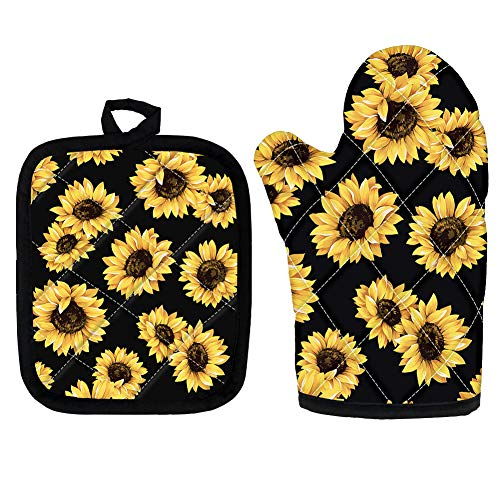Woisttop Sunflowers Pattern Oven Mitts and Pot Holder 2 Pcs Set Heat Insulation Kitchen Cooking Gloves and Heat-Resistant Square Mat