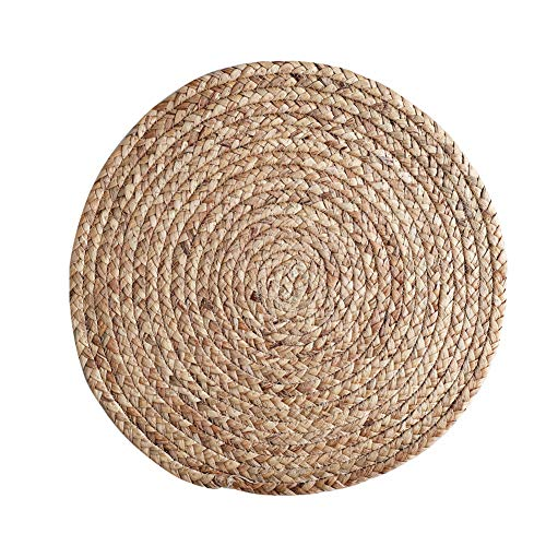 LXSHMF Heat Insulation Place Mats For Dine Room,Rustic Kitchen Decor,Round Oval Braided Straw Table Mats,Table Decor,Natural Woven Placemat 2pcs 36cm/14in