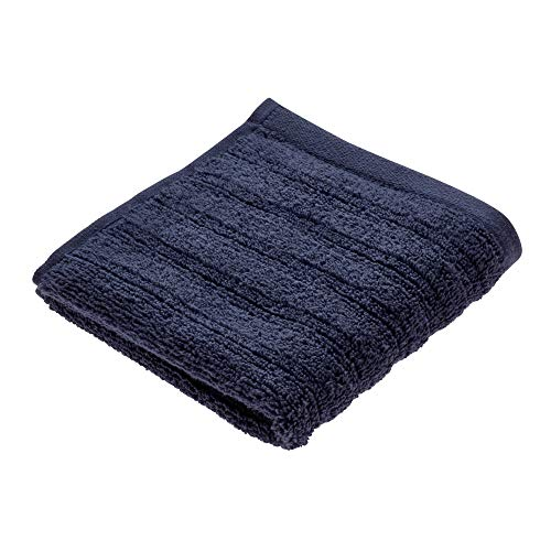 Price comparison product image iDesign Face Cloth,  Small Ribbed Cotton Hand Towel,  Soft Flannel Face Cloth for the Face and Hands or for the Shower and Bath,  Navy Blue