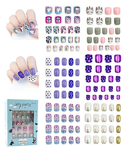 136pcs Fake nails Easy Press on cute unicorn and plants artificial false nails for girls and kids with glue on 3-12years (Spring )