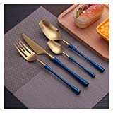 Tenedor cuchara Conjunto de cubiertos de lujo 24 piezas Forks Cuchillos Spmoons Setware Set Vajilla Portable Golden Cutlery Conjuntos Silverware Tenedor Cuchara cuchara tenedor ( Color : Deep Blue )