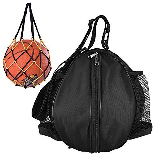 KLYNGTSK Bolsa de Baloncesto Impermeable Bolsa de Hombro de Baloncesto con 1 Bolsillo de Bola Tejida Bolsa de Pelota para Baloncesto, Pelota de Fútbol, Voleibol (Negro)