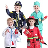 TOPTIE 4 Sets Kids' Role Play Costume Doctor Surgeon Police Officer Fire Chief Dress up Sets for Kids