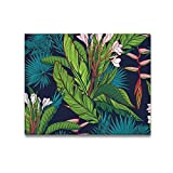 InterestPrint Wall Art Decor Canvas Prints 20 x 16 Inch Palm Tree and Banana Leaves Canvas Artwork Painting for Wall and Home Decor