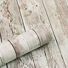 practicalWs 17.71''×236.2'' Wood Wallpaper Peel and Stick Wooden Paper Self Adhesive and Removable Vintage Wood Vinyl Film Easy to Use Leave No Marks