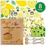 Uarter Bienenwachs-Wraps, Sef aus 8 Wachspapier, Wiederverwendbare Sandwich Wachstuch Verpackung, waschbare Frischhaltefolie für Obst, Gemüse und Nüsse
