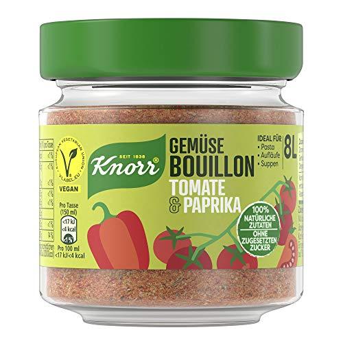 Knorr Gemüse Bouillon Tomate & Paprika (100% Natürliche + Vegane Zutaten im Glas, 96 g )