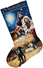 Dimensions Gold Collection Counted Cross Stitch 'Holy Night' Personalized Christmas Stocking Kit, 18 Count ivory Aida, 16