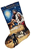 Dimensions Gold Collection Counted Cross Stitch 'Holy Night' Personalized Christmas Stocking Kit, 18 Count ivory Aida, 16'