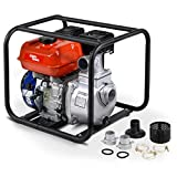 """AlphaWorks Water Transfer Pump Portable 7HP 196cc 4-Stroke Gas Engine EPA Certified 2"""" Inch Intake 132GPM Flow Rate 23FT Suction 92FT Lift 1/2"""" Passable Solids"""