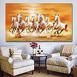 KWzEQ Moderno Siete Caballos Corriendo Lienzo Mural Art Poster decoración del hogar Sala de Estar,Pintura sin Marco,60x105cm