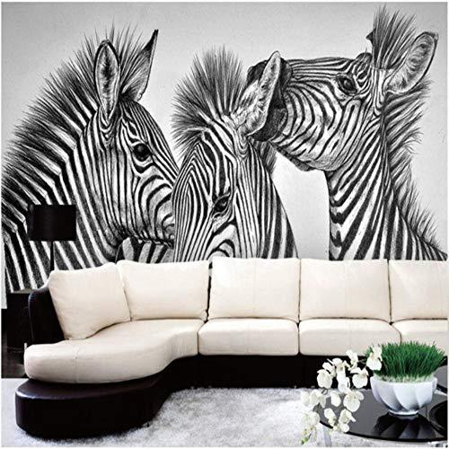 Grote op maat gemaakte muurschildering Freehand potlood tekenen zwart en wit abstract Zebra woonkamer achtergrond 300×210cm