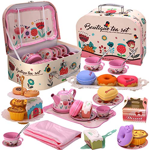 PRE-WORLD Tea Party Set for Little Girls, Princess Tea Time Toy Including Dessert,Cookies,Doughnut,Teapot Tray Cake, Tablecloth & Carrying Case,Kids Kitchen Pretend Play for Girls Boys Age 3-6