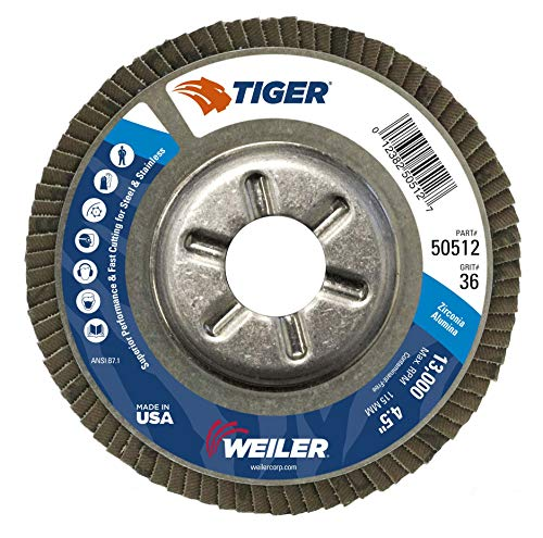 Weiler 50512 Tiger Disco abrasivo tipo 29, agujero redondo, respaldo de aluminio, circonia de aluminio, diámetro de 4-1/2 pulgadas, grano 36