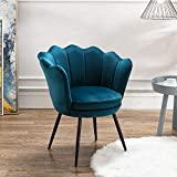 Chairus Velvet Accent Chair for Living Room/Bed Room, Upholstered Mid Century Modern Leisure Arm Chair with Black Metal Legs, Guest Chair, Vanity Chair(Teal Blue)