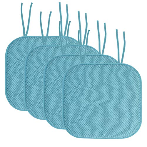 """Sweet Home Collection Chair Cushion Memory Foam Pads with Ties Honeycomb Pattern Slip Non Skid Rubber Back Rounded Square 16"""" x 16"""" Seat Cover, 4 Pack, Teal 4 Count"""