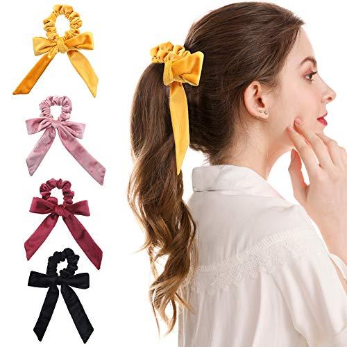 WELROG 4 Stücke Frauen Haar Haargummis Haar Krawatten Kopfverpackung Gummibänder Haar Zubehör (Schwarz/Rosa/Weinrot/Gelb)