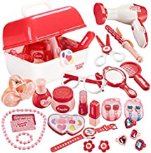 TEUVO Pretend Makeup Set Role Play for Girls, Princess Dress Up Kids Hairdressing Cosmetics Kit Vanity Set for Toddler Role Play, Girl Toys Gift for Kids Aged 3 Years Old 28Pcs