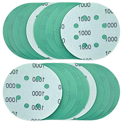 POLIWELL 5 Inch Sanding Discs 8 Holes 1000 Grit Wet Dry Film-Backed Green Line Hook and Loop Dustless Power Random Orbital Sander Paper, for Car Paint Wood or Metal Grinding and Polishing, 20 Pack