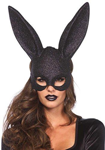 Leg Avenue Women's Rabbit Mask, Black Glitter, One Size
