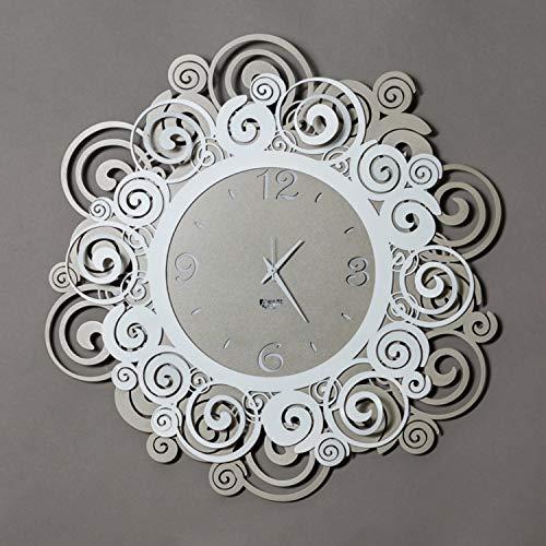 Arti & Mestieri Orfeo - Orologio da Parete di Design 100% Made in Italy - in Ferro, Diametro 50 cm - Sabbia e Bianco